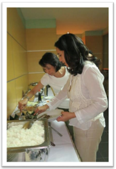 Ibu Nani and Kartika trying Javanese delicacies and forging alliances