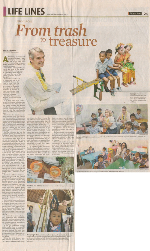 An article about the Kartika Soekarno Foundation in the Jakarta Post